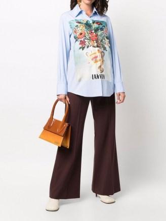 LANVIN blue floral-patch shirt / womens designer shirts