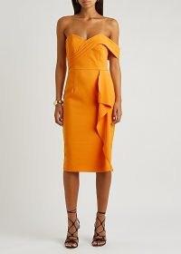 LAVISH ALICE Orange one-shoulder midi dress / sweetheart neckline pencil dresses / bright occasion fashion