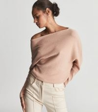 REISS LAYLAH ASYMMETRIC TOP NUDE ~ womens luxe off the shoulder lightweight knit tops