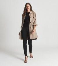 REISS LEON LONG TWIN POCKET OVERSHIRT MINK ~ women's chic utility inspired overshirts