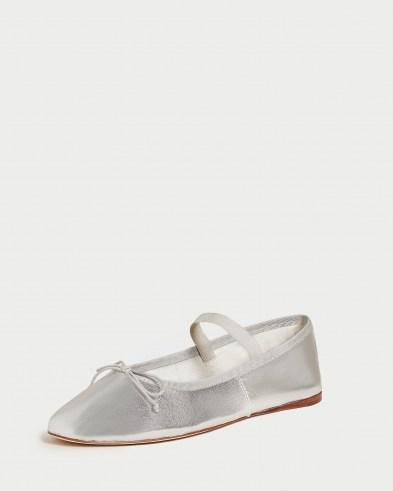 Loeffler Randall Leonie Silver Ballet Flat | metallic leather flats | luxe ballerinas - flipped
