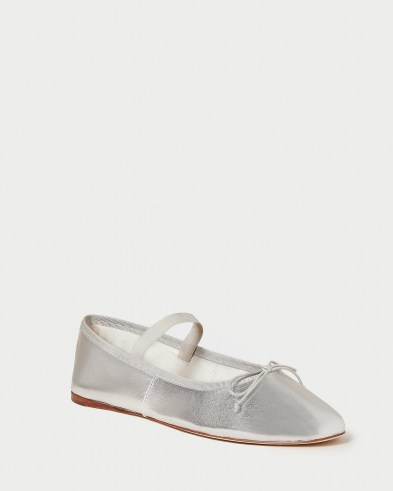 Loeffler Randall Leonie Silver Ballet Flat | metallic leather flats | luxe ballerinas