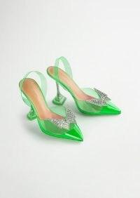 TONY BIANCO Lexus Lime Vinylite 10.3cm Heels – green clear embellished slingback pumps – martini glass heels – transparent flared high heel courts