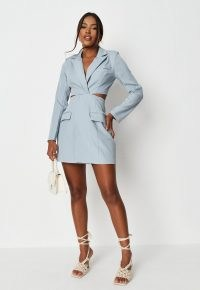 MISSGUIDED light blue twist front cut out blazer mini dress – jacket style going out dresses