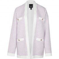 RIVER ISLAND Lilac dogtooth boucle cardigan / checked open front cardigans