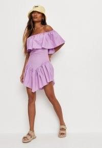 MISSGUIDED lilac poplin ruffle hem bardot mini dress – off the shoulder dresses – ruffled asymmetric hem