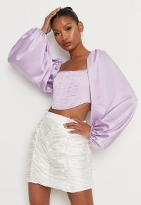 MISSGUIDED lilac satin balloon sleeve corset top ~ cropped fitted bodice volume sleeved tops