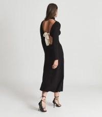 REISS LILY OPEN BACK MIDI DRESS BLACK ~ chic high neck bow fastening detail dresses ~ LBD