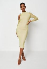 MISSGUIDED lime cold shoulder ruched mesh midi dress – light green sheer long sleeve bodycon – fitted going out evening dresses