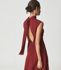 REISS LIVVY OPEN BACK MIDI DRESS DARK RED ~ chic high neck cap sleeve fit and flare dresses ~ womens self-tie bow detail occasion fashion