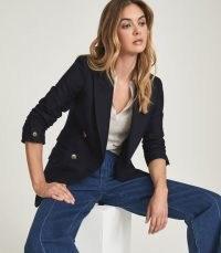 REISS LOGAN DOUBLE BREASTED TWILL BLAZER NAVY ~ womens classic dark blue blazers