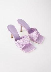 TONY BIANCO Lourdes Lilac Raffia 9.5cm Heels – woven effect square toe mules