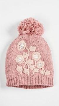 LoveShackFancy Underwood Hat Rose Blush / pink pom pom hats / floral knitted bobble hats
