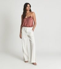 REISS LUIS SATIN CAMISOLE TOP ROSE ~ pink gathered cami tops ~ spaghetti strap camisoles