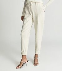 REISS MANDY TAILORED JOGGERS IVORY – chic jogging bottoms – sports inspired fashion