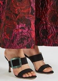 MANOLO BLAHNIK Gable 90 black silk crepe de chine mules / luxe buckle detail double strap mule sandals
