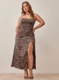 Reformation Marguerite Dress | strappy thigh high split hem dresses