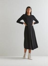 L.K. BENNETT MARIA BLACK VISCOSE MIX DRESS ~ LBD ~ chic fit and flare midi dresses
