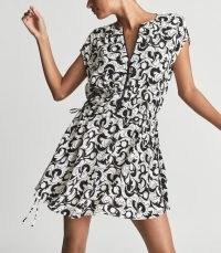 REISS MARIE GRAPHIC PRINTED MINI DRESS BLACK/WHITE / black and white swirl print dresses / womens monochrome fashion