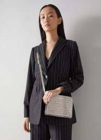 L.K. BENNETT MARIE GREY CROC EFFECT SHOULDER BAG ~ crocodile embossed leather crossbody bags