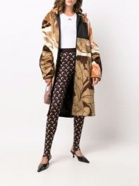 Marine Serre abstract-print faux-shearling coat / neutral hooded floral print coats / womens winter outerwear