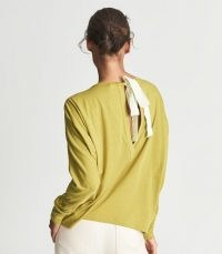 REISS MARLIN FINE JERSEY BOW DETAIL TOP YELLOW / womens stylish relaxed fit tops / keyhole back tie