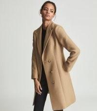 REISS MARLOW SHORT WOOL CROMBIE COAT CAMEL ~ womens light brown tailored coats