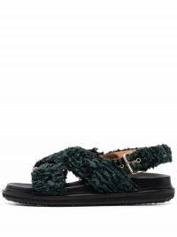 Marni Fussbet green faux-shearling sandals / women's textured faux fur slingback flats / womens flat fluffy slingbacks