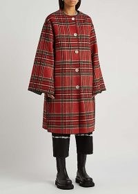 MARNI Tartan and houndstooth reversible wool-blend coat / womens red plaid wide sleeve coats / women's houndstooth reverse print outerwear