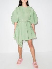 Marques'Almeida asymmetric balloon-sleeves dress | green volume sleeve frayed hem dresses