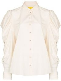 Marques'Almeida puff-sleeve cotton shirt | womens romantic leg of mutton sleeved shirts | vintage inspired blouses | women's organic cotton clothing