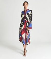 REISS MAY SCARF PRINT MIDI DRESS RED ~ chic bold print long sleeve tie waist dresses ~ beautiful luxe style shirt dress ~ womens occasion fashion