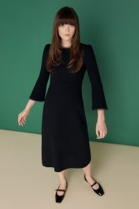 jane atelier MELISSA FIT & FLARE DRESS ~ vintage style LBD ~ chic black wool crepe fit and flare dresses ~ women retro fashion