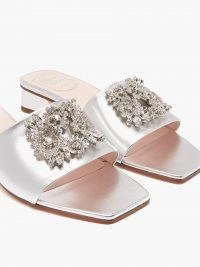 ROGER VIVIER Bouquet crystal-buckle silver leather slides – luxe metallic block heel embellished mules – square toe