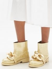JW ANDERSON Chain metallic-rubber boots in gold ~ glittering chunky chain boots