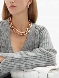 BOTTEGA VENETA Chunky chain rose gold-plated choker – large luxe style necklaces – womens designer statement chokers