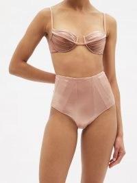 ISA BOULDER Course high-rise panelled metallic bikini briefs ~ pink retro high waist bikini bottoms
