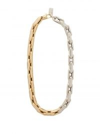 LAUREN RUBINSKI 14kt white and yellow gold chain-link necklace – chunky two-tone necklaces – women's fine luxe jewellery