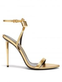 TOM FORD Naked metallic-leather heeled sandals in gold ~ luxe barely there padlock buckle detail stiletto heels