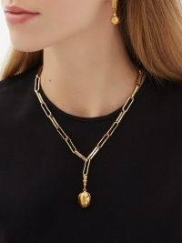 ALIGHIERI The Clairvoyant 24kt gold-plated necklace – chunky chain link pendant necklaces