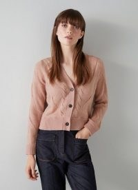 L.K. BENNETT MICHELLE PINK MOHAIR-BLEND CABLE KNIT CARDIGAN ~ womens soft V-neck cardigans