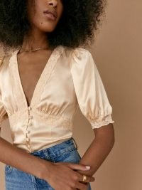 Reformation Millie Top in Almond | luxe vintage style silk blouses | feminine lace edged tops