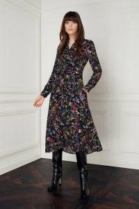 jane atelier MINERVA BLACK SECRET GARDEN SHIRT DRESS ~ floral long sleeve tie waist dresses