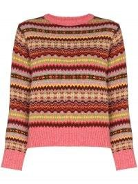 Molly Goddard Carla fairisle jumper   womens pink fair isle intarsia knit jumpers