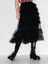 Molly Goddard Nuala black ruffle-detailing tulle midi skirt | sheer overlay ruffled skirts