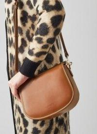 L.K. BENNETT MOLLY TAN LEATHER SHOULDER BAG ~ brown top handle bags ~ front flap closure handbags