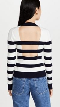 Monse Cut Out Stripe Knit Top Midnight/Ivory – striped cutout back jumpers