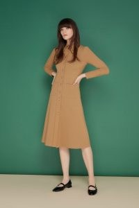 jane atelier MONTREAL JERSEY SHIRT DRESS ~ camel brown vintage style point collar dresses ~ goat womens fashion