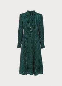 L.K. BENNETT MORTIMER GREEN & CREAM POLKA DOT SILK DRESS ~ vintage inspired pussy bow dresses ~ womens retro fashion