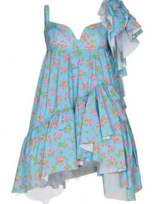 Natasha Zinko drop shoulder ruffled dress / blue floral asymmetric dresses / sweetheart neckline fashion - flipped